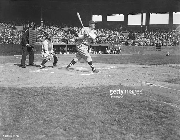 Baseball game the Newark Bears vs the Boston Braves at Ruppert Field Photo shows Babe Ruth as he 'slams one out of the park'