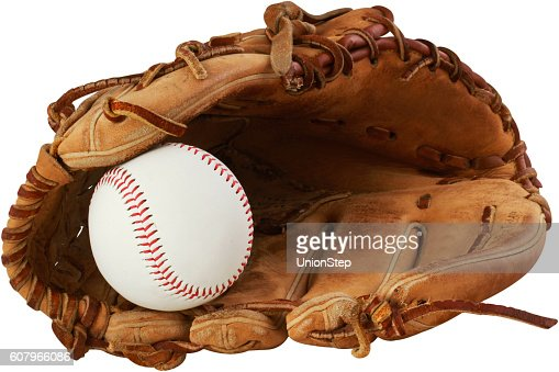 baseball glove and ball on a white background : Stock Photo