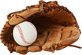 baseball glove and ball on a white background
