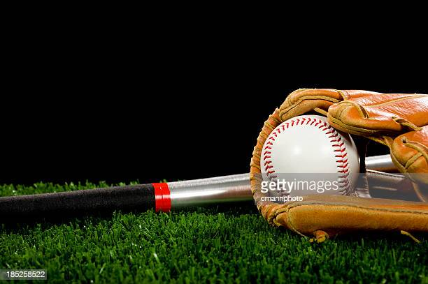 Baseball Glove and Bat - Night Game