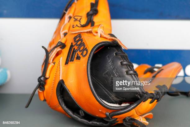 A baseball glove during the major league baseball game between the Atlanta Braves and the Miami Marlins on September 10 at SunTrust Park in Atlanta GA