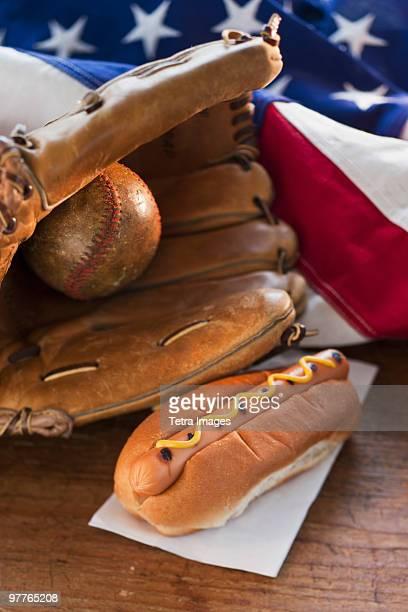 Baseball glove hotdog and American flag