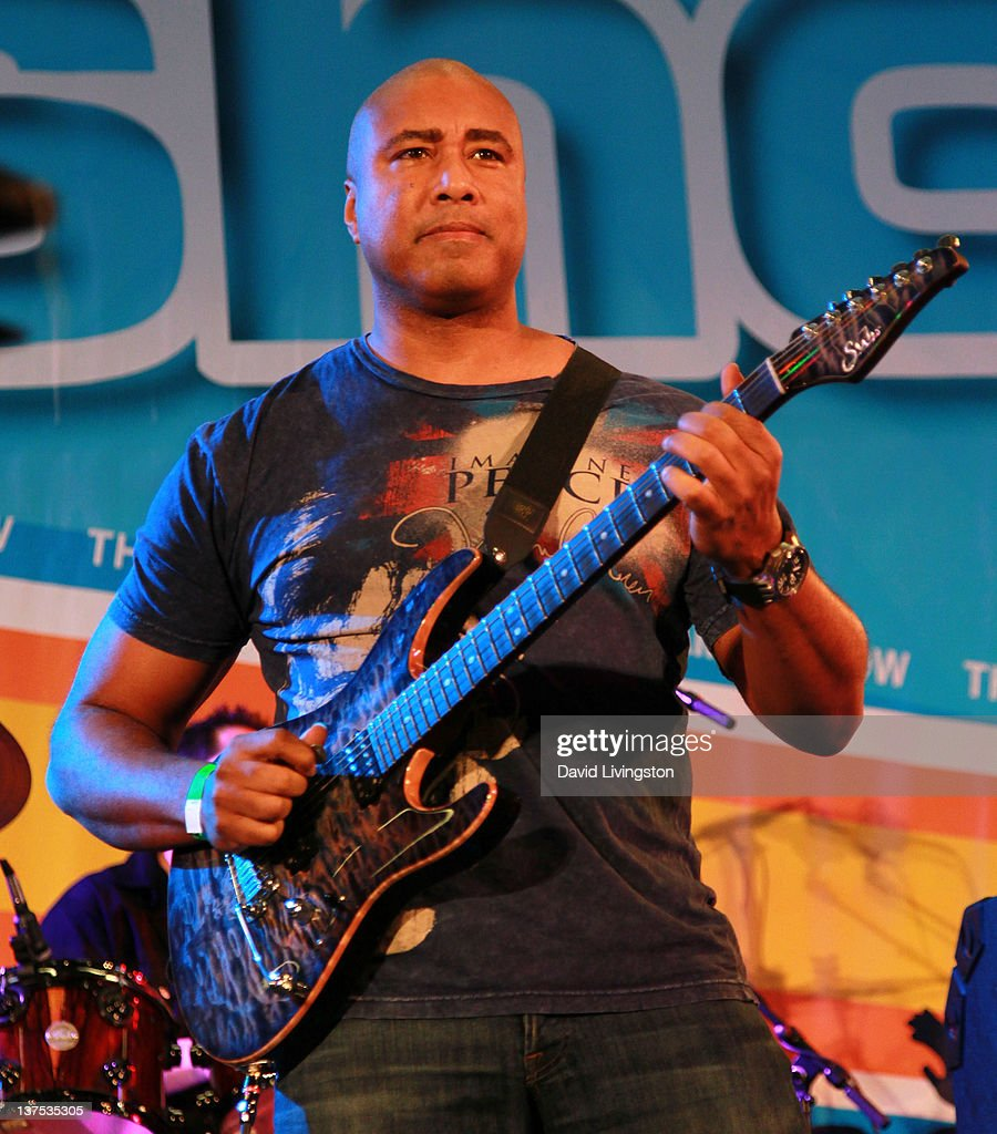 Baseball great <a gi-track='captionPersonalityLinkClicked' href=/galleries/search?phrase=Bernie+Williams&family=editorial&specificpeople=175814 ng-click='$event.stopPropagation()'>Bernie Williams</a> performs on stage with Band From TV at the 110th NAMM Show - Day 3 at the Anaheim Convention Center on January 21, 2012 in Anaheim, California.