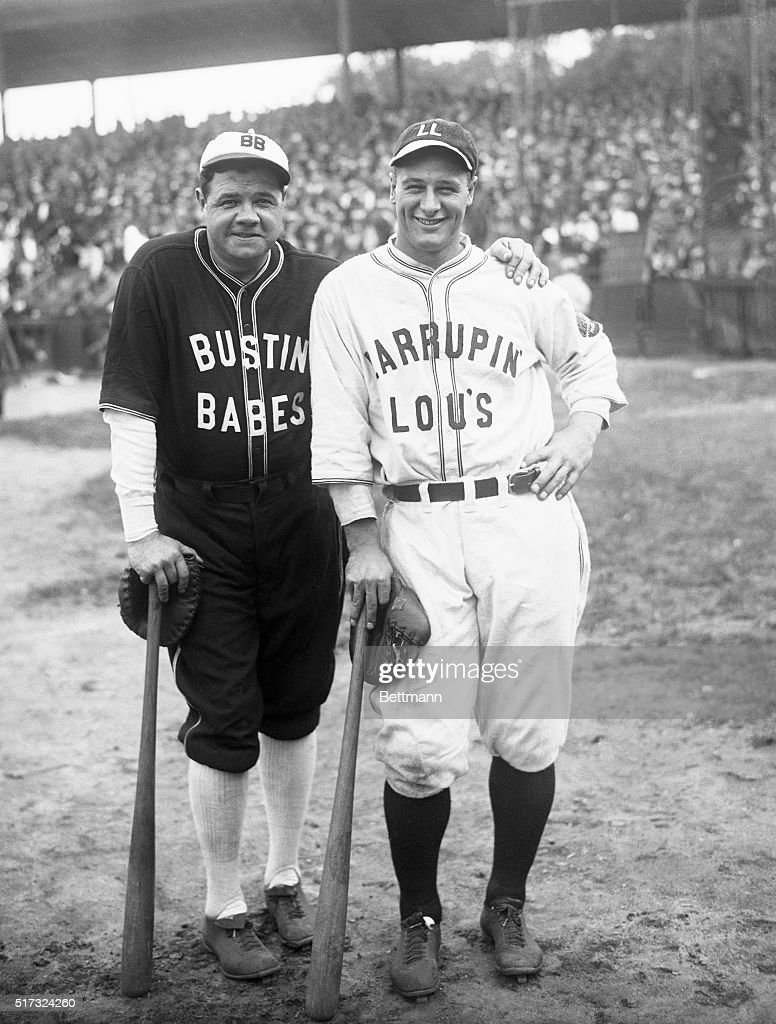 Baseball greats Babe Ruth and Lou Gehrig in uniforms labeled 'Bustin' Babes' and 'Larrupin' Lou's'.
