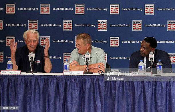 Baseball Hall of Fame inductees Doug Harvey Whitey Herzog and Andre Dawson speak to the media during induction weekend at Cooperstown Central School...