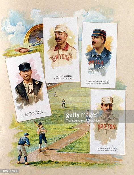Baseball Hall of Famer Buck Ewing appears with three other stars on the cover of a premium album from the Allen Ginter Company printed in 1888 in New...
