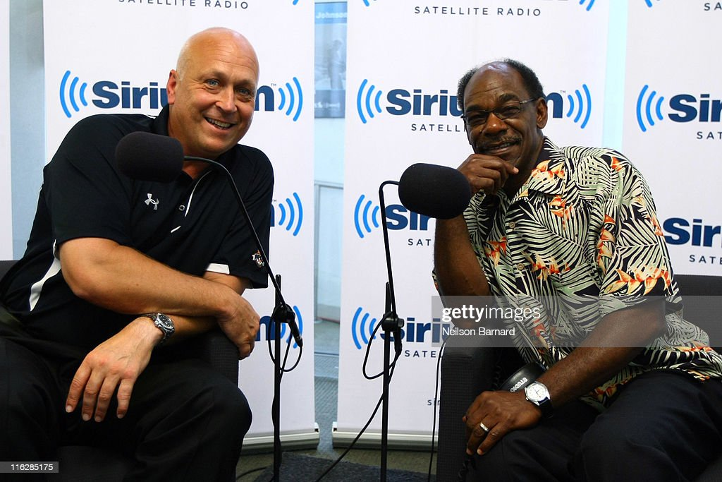 Baseball Hall of Famer Cal Ripken Jr. hosts his weekly SiriusXM/MLB talk show 'Ripken Baseball' with Texas Rangers manager <a gi-track='captionPersonalityLinkClicked' href=/galleries/search?phrase=Ron+Washington&family=editorial&specificpeople=225012 ng-click='$event.stopPropagation()'>Ron Washington</a> (R) at SiriusXM Studios on June 15, 2011 in New York City.