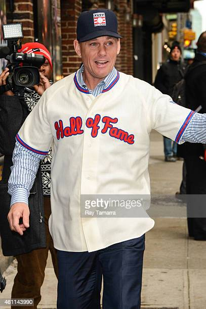 Baseball Hall Of Famer Craig Biggio enters the 'Late Show With David Letterman' taping at the Ed Sullivan Theater on January 7 2015 in New York City