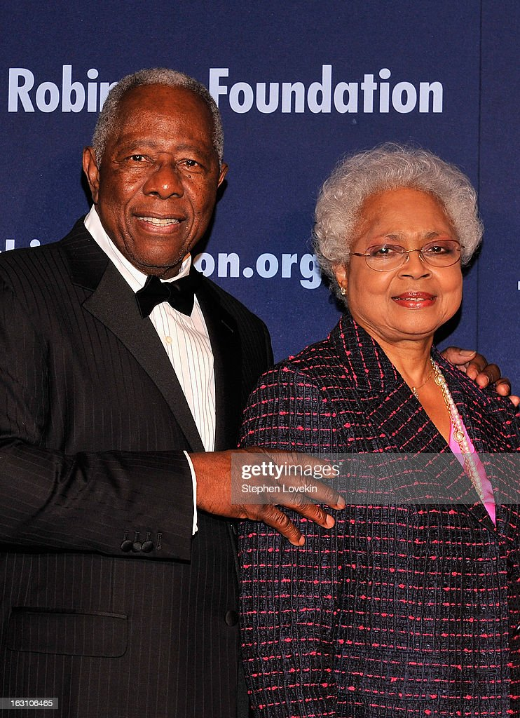 Baseball Hall of Famer Hank Aaron and his wife <a gi-track='captionPersonalityLinkClicked' href=/galleries/search?phrase=Billye+Aaron&family=editorial&specificpeople=2089877 ng-click='$event.stopPropagation()'>Billye Aaron</a> attend the The Jackie Robinson Foundation Annual Awards' Dinner at the Waldorf Astoria Hotel on March 4, 2013 in New York City.