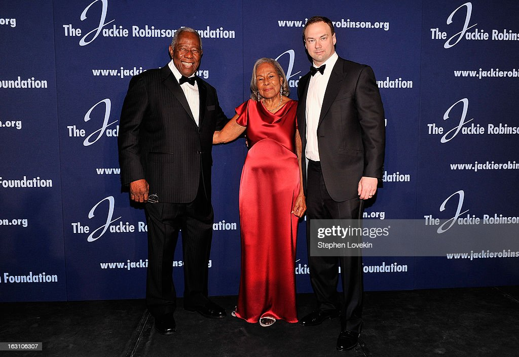 Baseball Hall of Famer Hank Aaron, JRF Founder Rachel Robinson and Chairman and CEO of Legendary Entertainment Thomas Tull attend the The Jackie Robinson Foundation Annual Awards' Dinner at the Waldorf Astoria Hotel on March 4, 2013 in New York City.