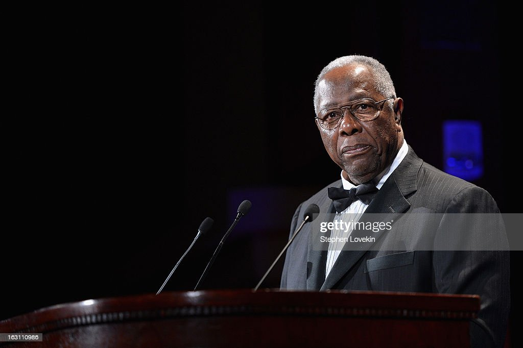 Baseball Hall of Famer <a gi-track='captionPersonalityLinkClicked' href=/galleries/search?phrase=Hank+Aaron&family=editorial&specificpeople=167027 ng-click='$event.stopPropagation()'>Hank Aaron</a> speaks onstage at the The Jackie Robinson Foundation Annual Awards' Dinner at the Waldorf Astoria Hotel on March 4, 2013 in New York City.