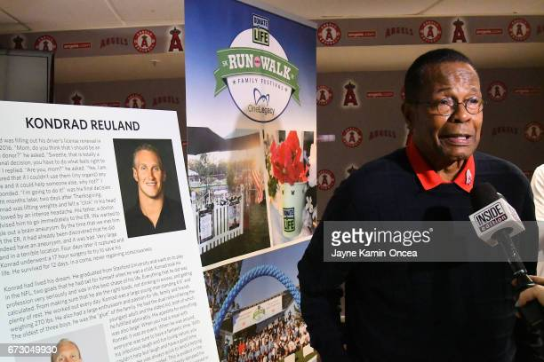 Baseball Hall of Famer Rod Carew talks to the media during a press conference about his heart and kidney transplant prior to the game between the Los...