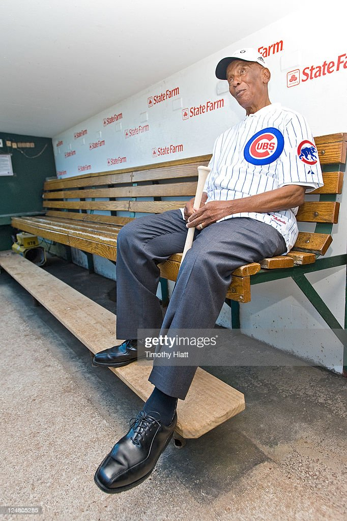 Baseball Hall-Of-Famer <a gi-track='captionPersonalityLinkClicked' href=/galleries/search?phrase=Ernie+Banks&family=editorial&specificpeople=167021 ng-click='$event.stopPropagation()'>Ernie Banks</a> Hits Golf Balls From The Stands At Wrigley Field To Kick-Off The 2011 BMW Championship at Wrigley Field on September 12, 2011 in Chicago, Illinois.