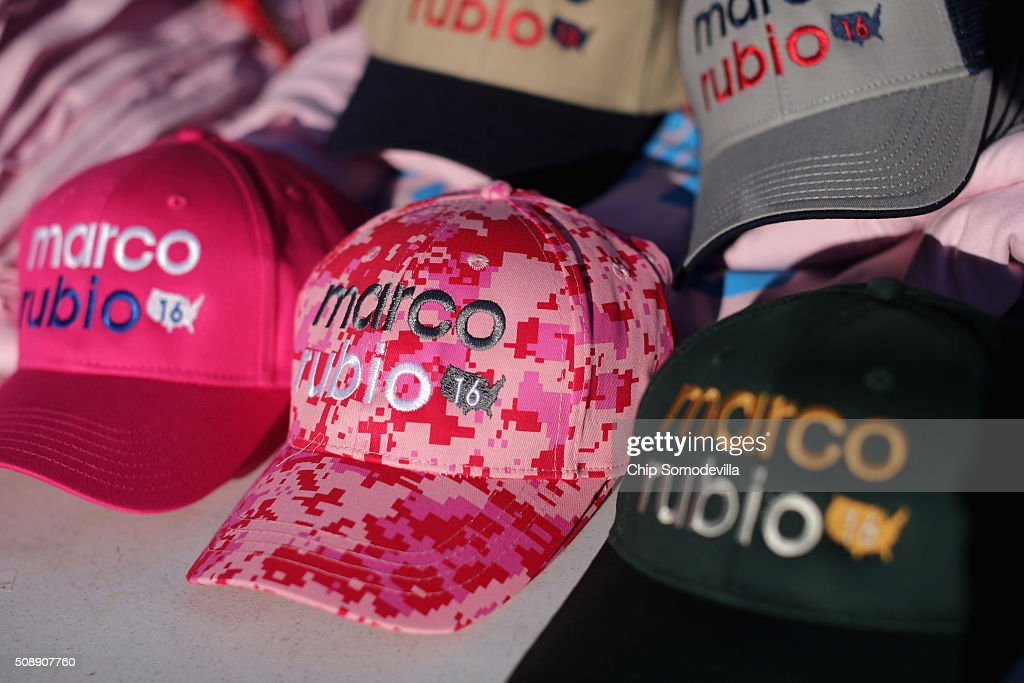 Baseball hats with Republican presidential candidate Sen. Marco Rubio (R-FL) logos for sale outside a town hall meeting in the Londonderry High School cafeteria February 7, 2016 in Londonderry, New Hampshire. Hundreds of people came to the event to see Rubio just two days before voters go to the polls in the 'First in the Nation' presidential primary.