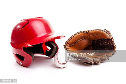 Baseball Helmet, Glove and Ball on White Background : Stock Photo