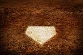 Baseball home plate to score in game American pastime