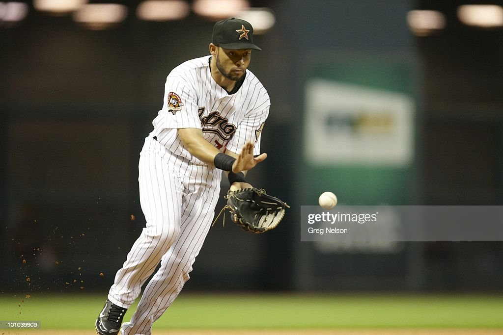 Houston Astros Pedro Feliz (77) in action, fielding vs Colorado Rockies. Houston, TX 5/20/2010