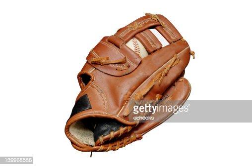 Baseball in Glove Isolated : Stock Photo