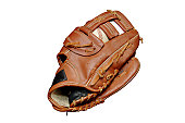 Baseball in glove.  Isolated image with clipping path.