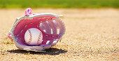 Baseball in Pink Female Glove on Field. Sport
