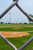Youth baseball infield on a beautiful Spring day.  LaSalle, Illinois, USA