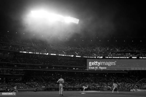 Infrared view of New York Mets Paul Sewald in action pitching vs Washington Nationals Matt Wieters at Citi Field Flushing NY CREDIT Erick W Rasco