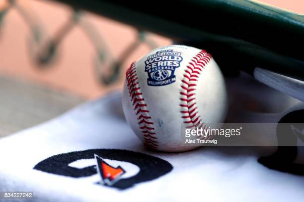 A baseball is seen during Game 2 of the 2017 Little League World Series between the New England team from Connecticut and the MidAtlantic team from...