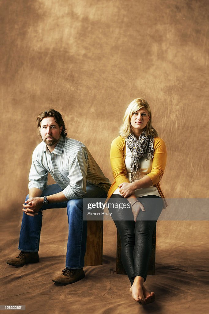 Casual portrait of New York Mets pitcher R.A. Dickey and Olympic athlete Kayla Harrison during photo shoot. Dickey, the 2012 National League Cy Young winner, and Harrison, the 2012 Summer Games 78kg gold medal winner, were both sexually assaulted as children and have been vocal advocates for abused children. Cover. Simon Bruty F257 )