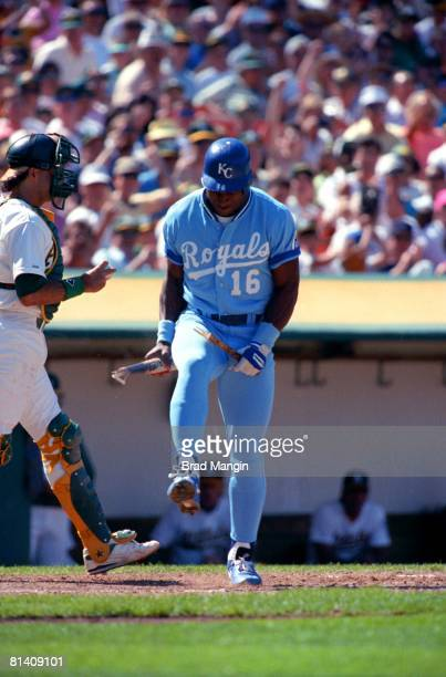 Baseball Kansas City Royals Bo Jackson upset breaking bat over knee after striking out vs Oakland Athletics Oakland CA 6/5/1990