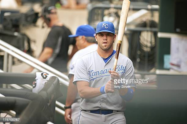 Kansas City Royals Mike Moustakas from dugout with pine tar on bat before game vs New York Mets at Citi Field Flushing NY CREDIT Amy Stroth