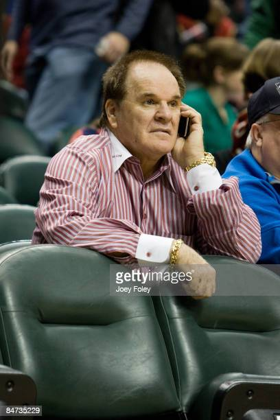 Baseball legend Pete Rose attends the Cleveland Cavaliers vs Indiana Pacers game at Conseco Fieldhouse on February 10 2009 in Indianapolis Indiana