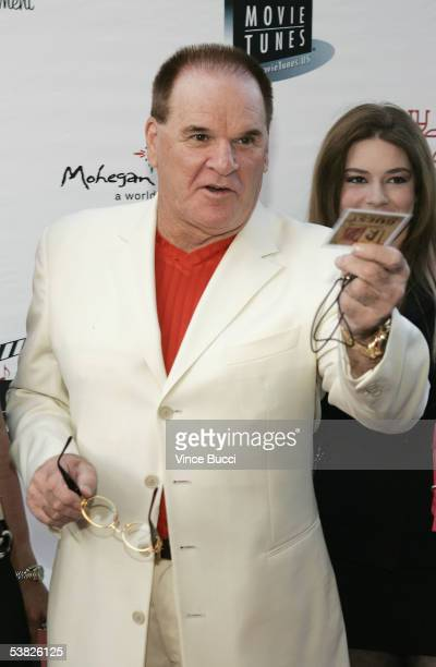 Baseball legend Pete Rose attends the reunion concert and DVD premiere for the musical group Tony Orlando and Dawn on August 31 2005 at The Grove in...
