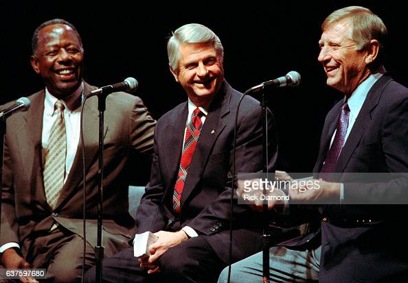 Baseball Legends Hank Aaron And Mickey Mantle host Fund Raiser for Georgia Governor Zell Miller at The Georgia World Congress Center in Atlanta...