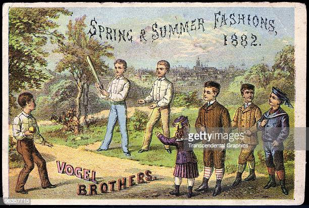 Baseball lithographed trade card to promote clothiers was issued in 1882