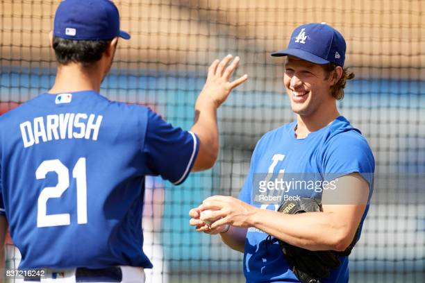Los Angeles Dodgers Clayton Kershaw with Yu Darvish before game vs Chicago White Sox at Dodger Stadium Los Angeles CA CREDIT Robert Beck