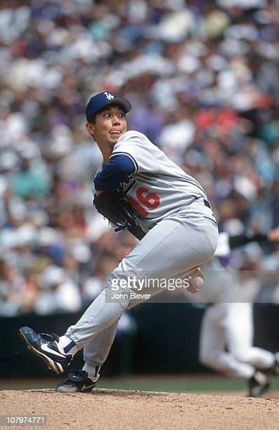 Los Angeles Dodgers Hideo Nomo in action pitching vs Colorado Rockies at Coors Field CoverDenver CO 5/7/1995CREDIT John Biever