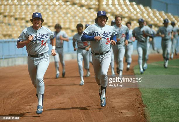Los Angeles Dodgers Mike Sciosia and Fernando Valenzuela jogging during workout after player's strike at Dodger StadiumLos Angeles CA 8/1/1981CREDIT...