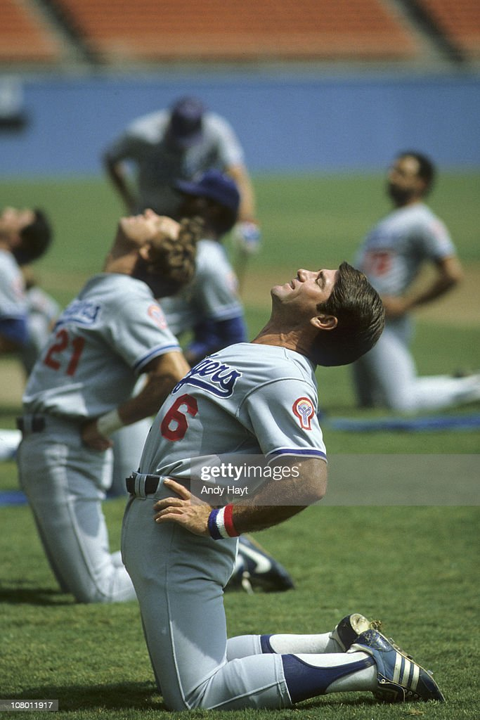 Los Angeles Dodgers Steve Garvey stretching during workout after player's strike at Dodger StadiumLos Angeles CA 8/1/1981CREDIT Andy Hayt