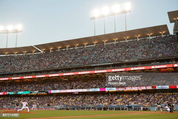 Los Angeles Dodgers Yu Darvish in action pitching vs Chicago White Sox Tim Anderson at Dodger Stadium Goofy Los Angeles CA CREDIT Robert Beck
