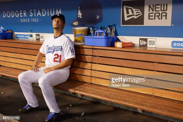 Los Angeles Dodgers Yu Darvish in dugout during game vs Chicago White Sox at Dodger Stadium Los Angeles CA CREDIT Robert Beck