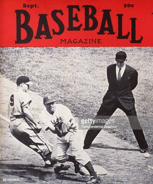 Baseball Magazine features a photo of onfield action at first base September 1941