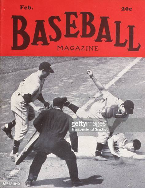 Baseball Magazine features a photograph of onfield action at third base February 1944