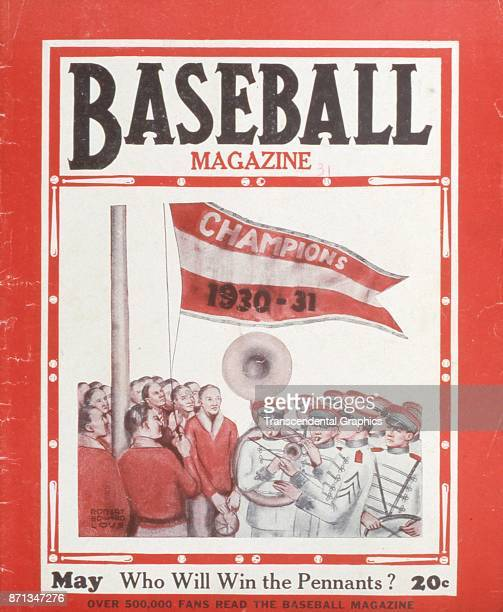 Baseball Magazine features an illustration of a marching band as they play to accompany a pennant flag raising May 1931