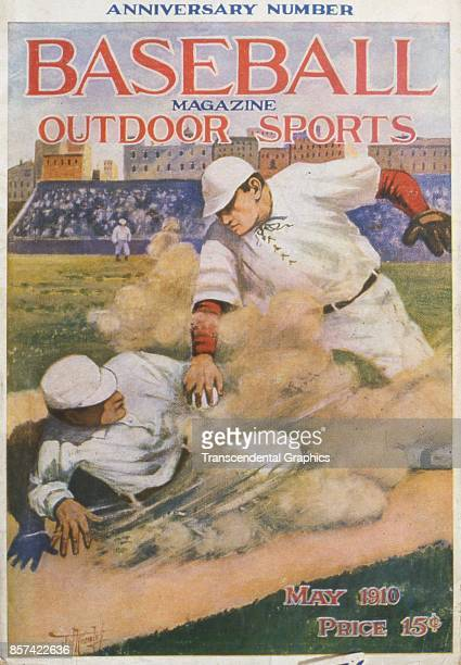 Baseball Magazine features an illustration of onfield action at first base May 1910