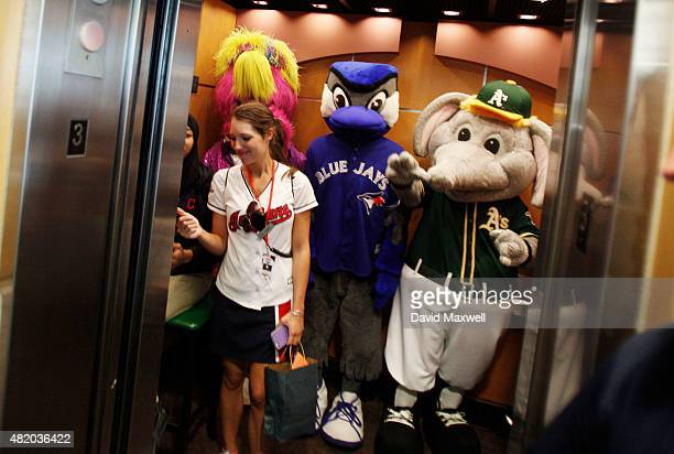 Baseball Mascots Slider of the Cleveland Indians Ace of the Toronto Blue Jays and Stomper of the Oakland A's ride in an elevator before the start of...