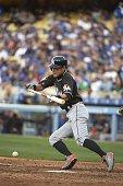 Miami Marlins Ichiro Suzuki in action bunt vs Los Angeles Dodgers at Dodger Stadium Los Angeles CA 5/13/2015 CREDIT Donald Miralle