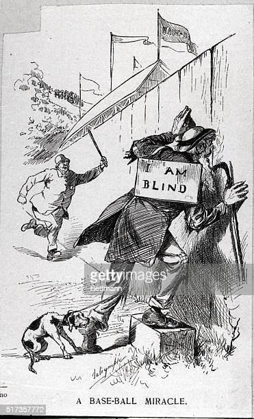 Cartoon showing man wearing 'I am blind' signwatching baseball game through hole in the fence The long arm of the lawis just about to catch up with...