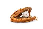 Baseball mitt and ball on white