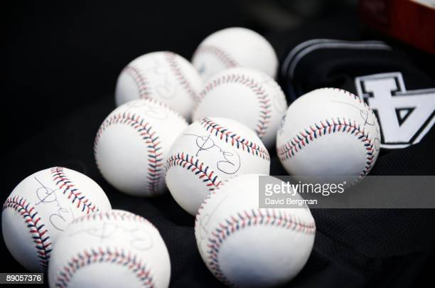 MLB All Star Game View of baseballs with autograph of United States President Barack Obama for umpires before game during AllStar Weekend at Busch...