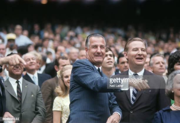 MLB AllStar Game United States Vice President Spiro Agnew throwing out ceremonial first pitch before game at RFK Memorial Stadium View of MLB...
